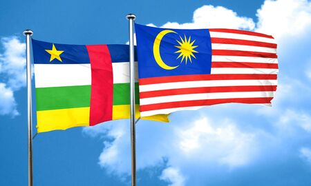 central african republic: Central african republic flag with Malaysia flag, 3D rendering Stock Photo