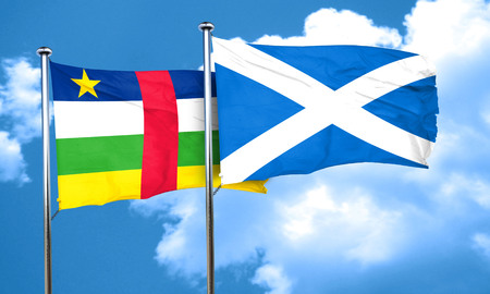 central african republic: Central african republic flag with Scotland flag, 3D rendering