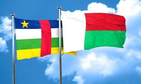 central african republic: Central african republic flag with Madagascar flag, 3D rendering Stock Photo