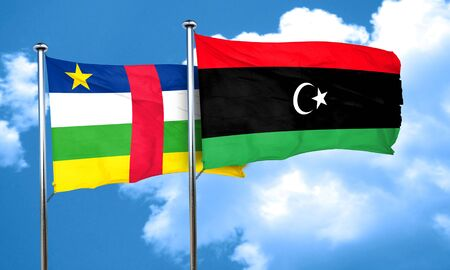 central african republic: Central african republic flag with Libya flag, 3D rendering Stock Photo