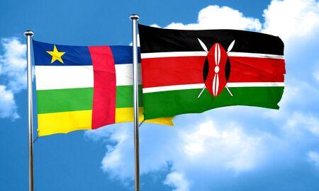 central african republic: Central african republic flag with Kenya flag, 3D rendering Stock Photo