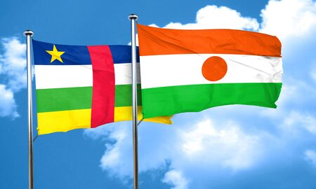 central african republic: Central african republic flag with Niger flag, 3D rendering