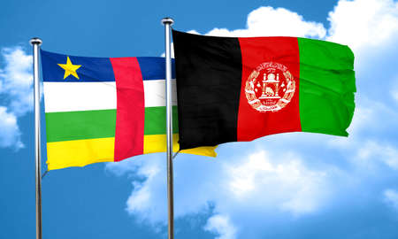 afghanistan flag: Central african republic flag with afghanistan flag, 3D rendering Stock Photo