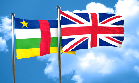 great britain flag: Central african republic flag with Great Britain flag, 3D rendering