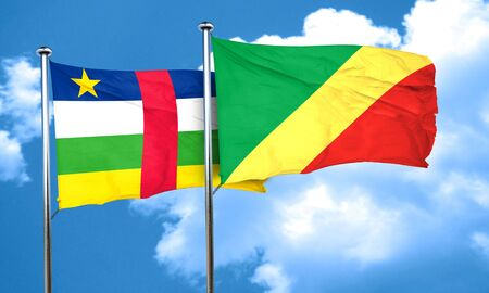 central african republic: Central african republic flag with congo flag, 3D rendering