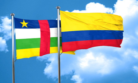 republic of colombia: Central african republic flag with Colombia flag, 3D rendering