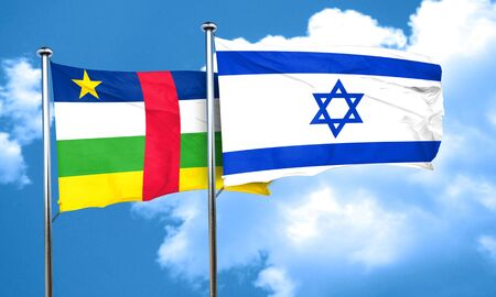 central african republic: Central african republic flag with Israel flag, 3D rendering