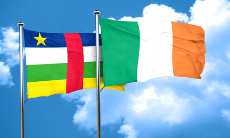 republic of ireland: Central african republic flag with Ireland flag, 3D rendering