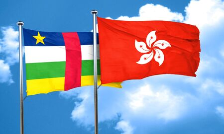 central african republic: Central african republic flag with Hong Kong flag, 3D rendering