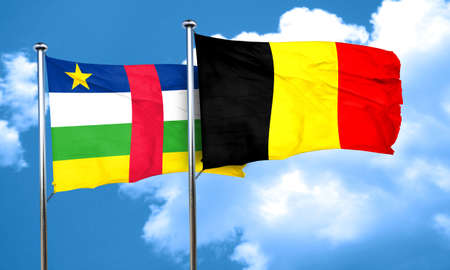 central african republic: Central african republic flag with Belgium flag, 3D rendering