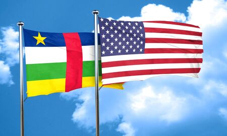 central african republic: Central african republic flag with American flag, 3D rendering Stock Photo