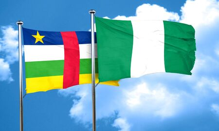 nigerian: Central african republic flag with Nigeria flag, 3D rendering