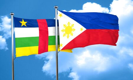 philippino: Central african republic flag with Philippines flag, 3D rendering