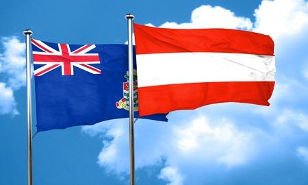 cayman: cayman islands flag with Austria flag, 3D rendering