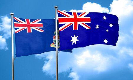 cayman: cayman islands flag with Australia flag, 3D rendering