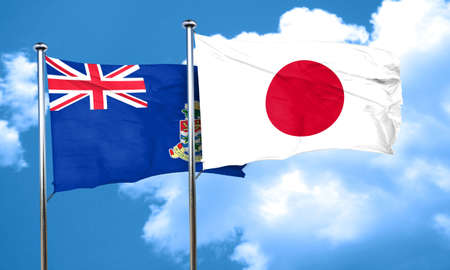 cayman: cayman islands flag with Japan flag, 3D rendering Stock Photo