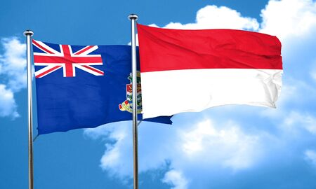 cayman: cayman islands flag with Indonesia flag, 3D rendering Stock Photo