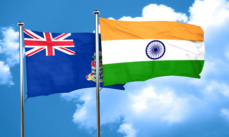 cayman: cayman islands flag with India flag, 3D rendering