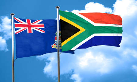 cayman: cayman islands flag with South Africa flag, 3D rendering Stock Photo