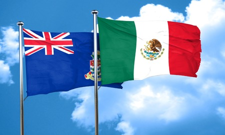 cayman: cayman islands flag with Mexico flag, 3D rendering