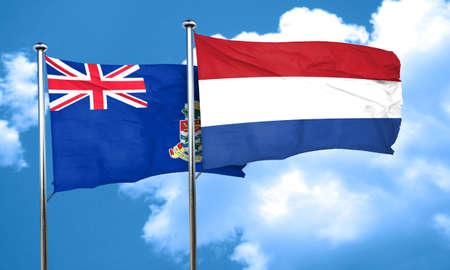 cayman: cayman islands flag with Netherlands flag, 3D rendering