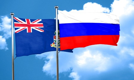 russia flag: cayman islands flag with Russia flag, 3D rendering