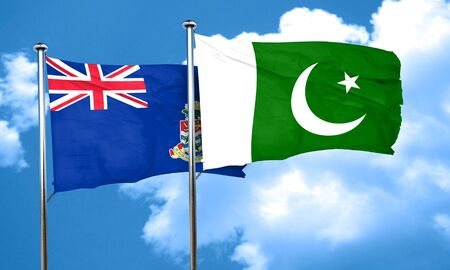 cayman: cayman islands flag with Pakistan flag, 3D rendering