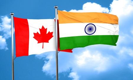 bandera de la india: bandera de Canadá con la bandera de la India, 3D