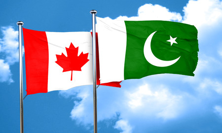 flag of pakistan: Canada flag with Pakistan flag, 3D rendering