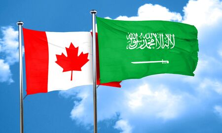 canadian state flag: Canada flag with Saudi Arabia flag, 3D rendering