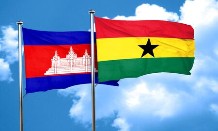 ghanese: Cambodia flag with Ghana flag, 3D rendering Stock Photo