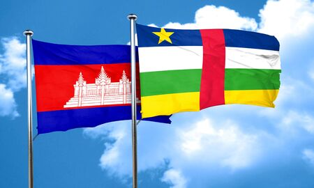 central african republic: Cambodia flag with Central African Republic flag, 3D rendering Stock Photo