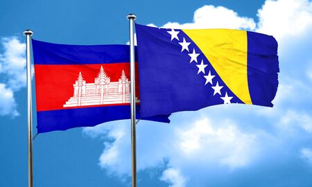 herzegovina: Cambodia flag with Bosnia and Herzegovina flag, 3D rendering