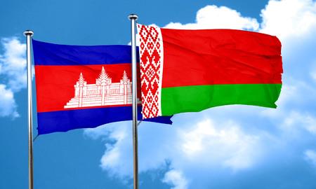 belarus: Cambodia flag with Belarus flag, 3D rendering