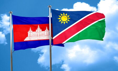 namibia: Cambodia flag with Namibia flag, 3D rendering