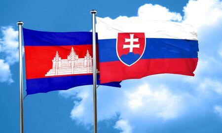slovakia: Cambodia flag with Slovakia flag, 3D rendering