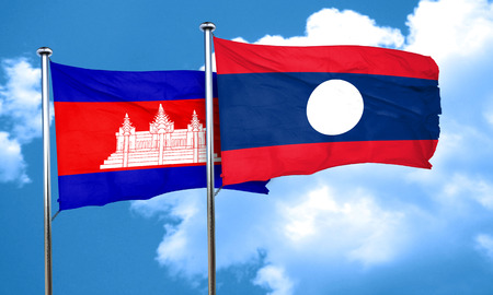 amity: Cambodia flag with Laos flag, 3D rendering