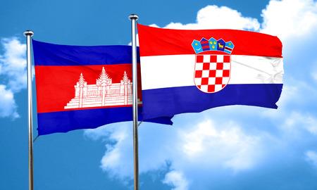 croatia flag: Cambodia flag with Croatia flag, 3D rendering Stock Photo