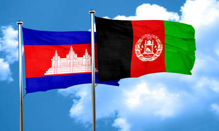 afghanistan flag: Cambodia flag with afghanistan flag, 3D rendering Stock Photo