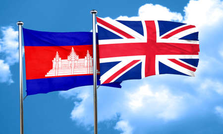 british culture: Cambodia flag with Great Britain flag, 3D rendering