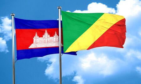 Congo: Cambodia flag with congo flag, 3D rendering Stock Photo