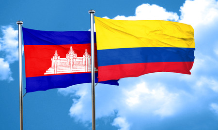 colombia flag: Cambodia flag with Colombia flag, 3D rendering Stock Photo