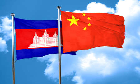 china flag: Cambodia flag with China flag, 3D rendering