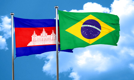 cambodia: Cambodia flag with Brazil flag, 3D rendering
