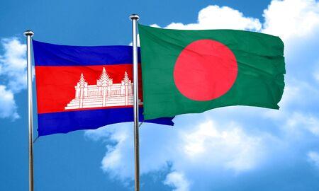 bangladesh: Cambodia flag with Bangladesh flag, 3D rendering Stock Photo