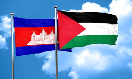 cambodia: Cambodia flag with Palestine flag, 3D rendering Stock Photo