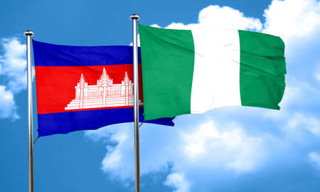 nigerian: Cambodia flag with Nigeria flag, 3D rendering Stock Photo