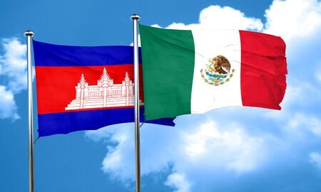 cambodia: Cambodia flag with Mexico flag, 3D rendering