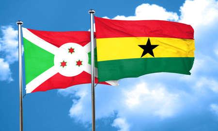 ghanese: Burundi flag with Ghana flag, 3D rendering