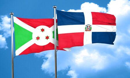 burundi: Burundi flag with Dominican Republic flag, 3D rendering Stock Photo